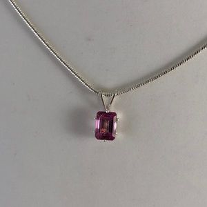 eye4jewelry Accessories - Pink Mystic Topaz Sterling Silver Pendant Necklace